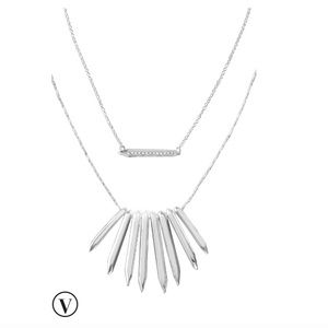 stella and dot rebel cluster necklace silver